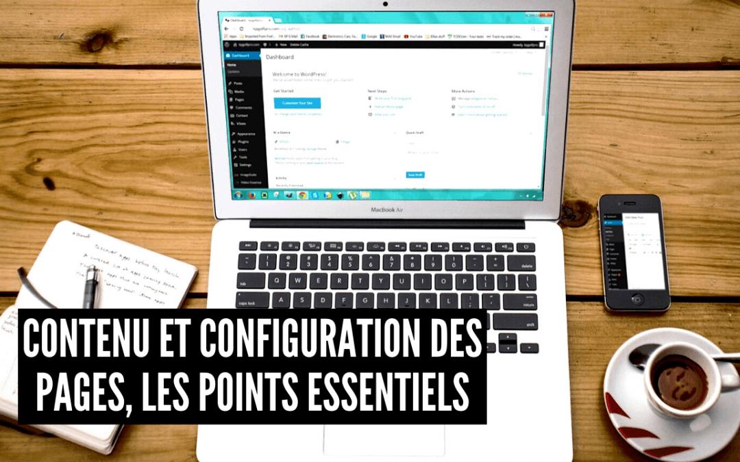 Contenu et configuration des pages, les points essentiels