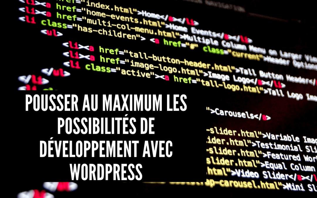 Pousser au maximum les possibilités de développement avec WordPress